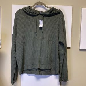 NWT Express Olive Green Waffle Knit Hoodie